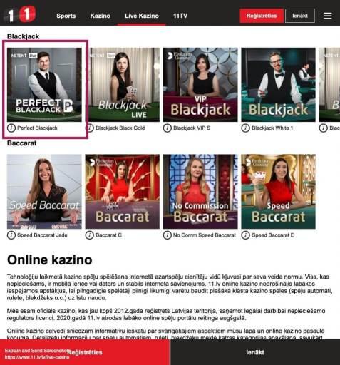 Netent ''Perfect Blackjack'' bonuss kazino Latvijā