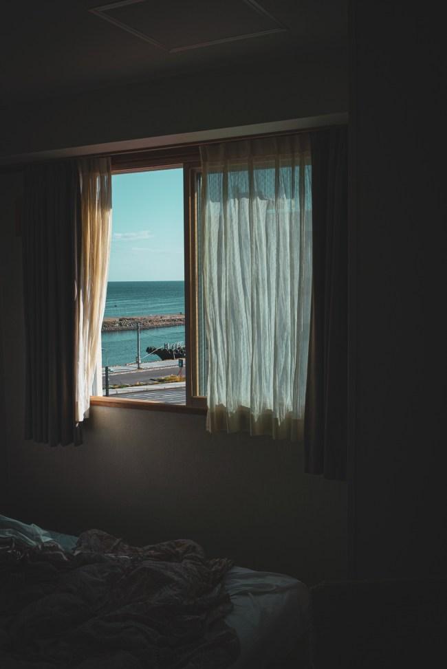ホテルから見えるオホーツク海