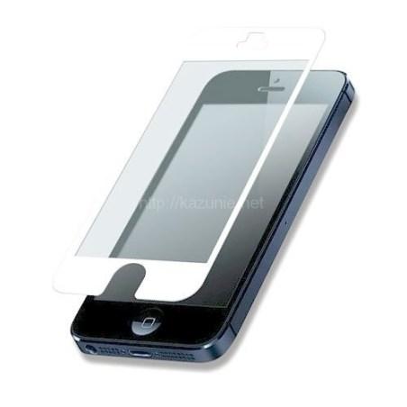 貼り直しが簡単 気泡知らず iPhone5/5S対応 硬質保護フィルム ホワイト 反射防止タイプ
