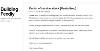 feedlyとEvernote、脅迫的DDoS攻撃から復旧、金銭要求に屈せずほか今日の #スクラップ #2014 #6/12