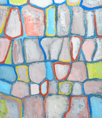 cell pattern, colorful, pale pastel color lyrical abstraction, abstract nature scene, acrylic painting #2174, 2004 | Kazuya Akimoto Art Museum