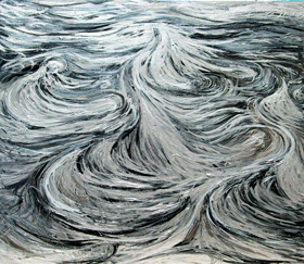 abstract silver soft line pattern painting, abstract seascape, abstract ocean landscape, abstract ocean current pattern, monotone, sliver metallic color,  abstract winter North Sea scene, sea, ocean  surface pattern, liquid pattern, fluid pattern, linear abstraction, acrylic painting # 4353, 2005 | Kazuya Akimoto Art Museum