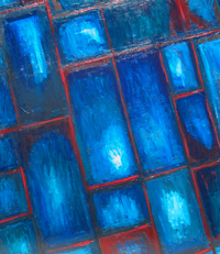 abstract stained glass image painting,  rectangular oblique pattern, slant rectangular window frame pattern, blue color symbolism, abstract blue, abstract windowpanes, abstract transparent blue, window symbolism, abstract interior acrylic painting #4412, 2005 | Kazuya Akimoto Art Museum