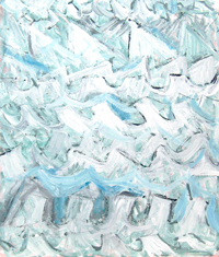 abstract sea, abstract seascape, abstract natural scene, abstract iceberg pattern, white wave pattern painting, white color symbolism, white minimalism, abstract brush stroke pattern, random pattern, Acrylic painting #4417, 2005 | Kazuya Akimoto Art Museum
