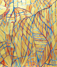 abstract human anatomy painting, golden metallic soft line pattern painting, human anatomical symbolism painting, blue and red, soft lines, net pattern, linear expressionism, acrylic painting #4449, 2005 | Kazuya Akimoto Art Museum