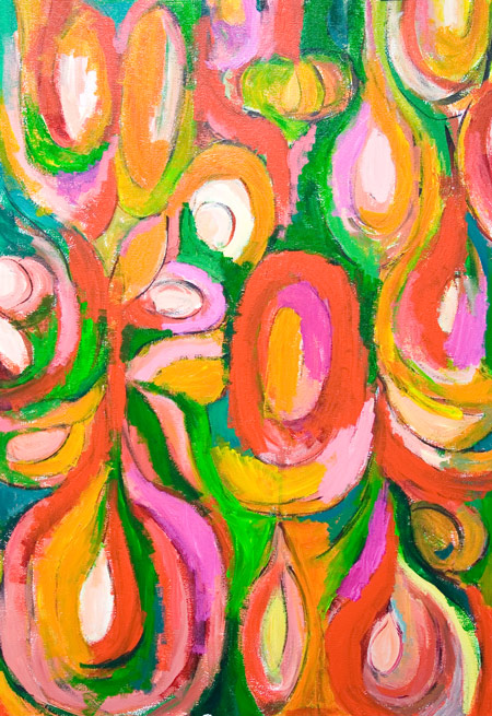 Orange and Red, Teardrop Abstract Flowers : abstract colorful flower, orange and red flower pattern, abstract expressionism botanical floral acrylic painting #5307,2006 | Kazuya Akimoto Art Museum