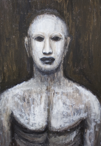 New, jewish, folklore, legendary, scary, eerie, weird, creature, black and white, painting   surreal, surreaism, man, male, contemporary, realism, acrylic, monster theme painting #6745, 2007 | Kazuya Akimoto Art Museum