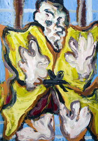 New Japonism, contemporary Japonisme, Japanese samurai warrior, kabuki actor portrait, Japanese traditional theme, contemporary ukiyo-e style portrait painting, expressionism, abstract expressionism, raw art, distortion, distorted, deforme, abstract human figure, acrylic painting #6826. 2007 | Kazuya Akimoto Art Museum