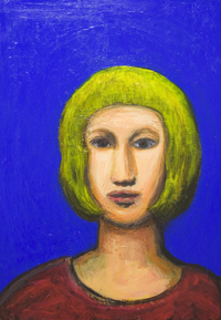 contemporary female figurative portrait painting,  expressionism, primary colors, brilliant cobalt blue background, colorful naive portrait acrylic painting #7339,2008 | Kazuya Akimoto Art Museum