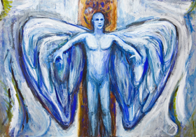New contemporary  music theme religious symbolism painting, Christianity angel theme, narrative symbolism, biblical symbolism, contemporary symbolism, legendary, biblical, mythological, acrylic painting #7483, 2008 | Kazuya Akimoto Art Museum