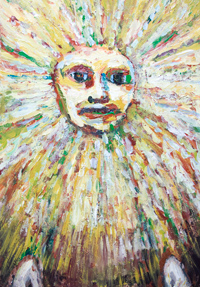 New, expressionism mythological sun god face, raw art painting, solar deity,  personified human face, abstract mask, radiation brush stroke pattern, solar symbolism, astronomical symbolism, persona god, art brut, outsider art, naive, contemporary god portrait painting, #8245, 2009 | Kazuya Akimoto Art Museum
