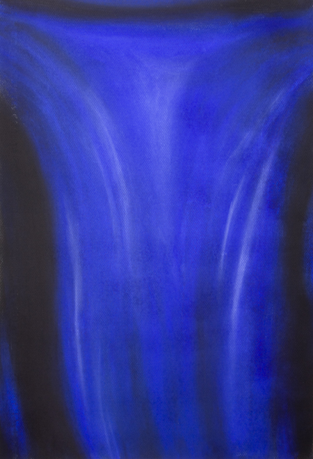 contemporary abstract crucifixion of Jesus Christ painting, abstract blue color symbolism. blue art, abstract symbolism,  pastel painting, abstract true cross painting, biblical, religious symbolism, traditional Christian theme, pastel painting pas038, 2003 | Kazuya Akimoto Art Museum