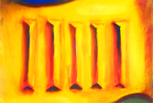 abstract color symbolism, five bars, 3d, color perspective, symbolic yellow, pastel painting pas090, 2003   Kazuya Akimoto Art Museum