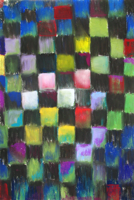 abstract colorful black checkered pattern pastel painting, geometric pattern, geometric symbolism, colorful, allover, pattern symbolism, pastel painting, pas152, 2003 | Kazuya Akimoto Art Museum