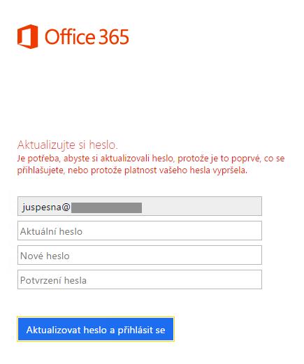 Office 365 - Změna hesla