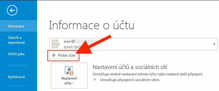 Outlook 2013 - Přidat účet