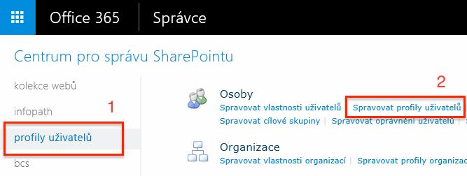 Office 365 - Spravovat profily uživatelů