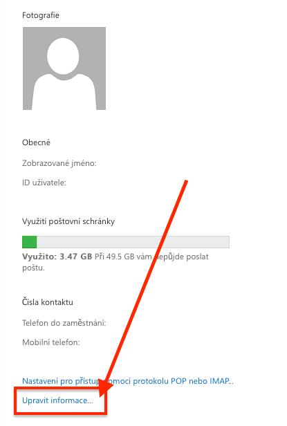 Office 365 - Upravit informace