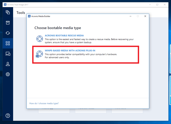 Acronis True Image 2017: How to create a WinPE-based ...