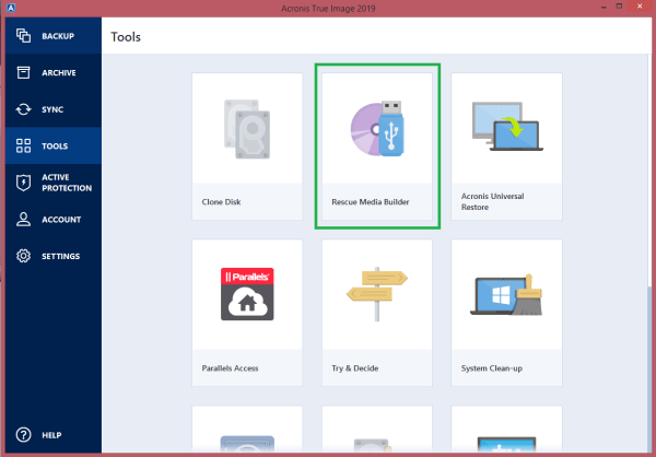 Acronis True Image 2019: how to create bootable media ...