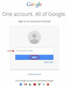 Image of Google login screen