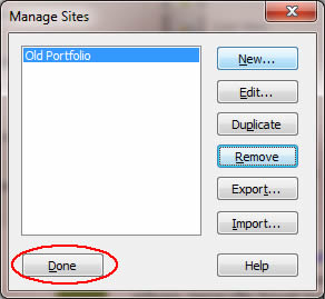 Image of Done button in manage sites dialog box