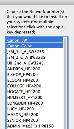 Image of printer list