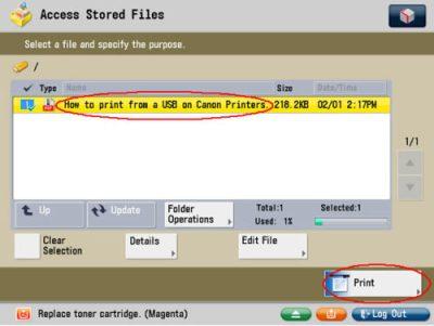 Image of selecting file screen