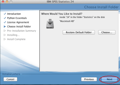 Image of SPSS Install location screen