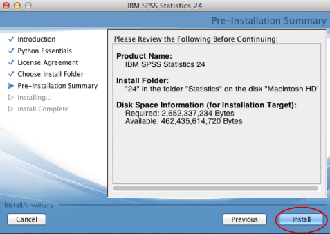 Image of SPSS Install screen