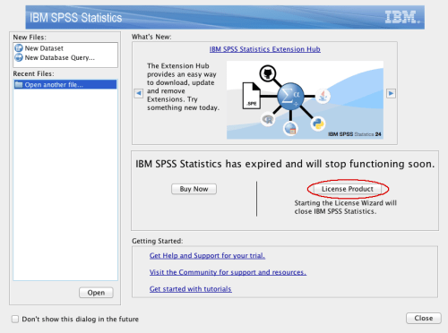Image of SPSS License Product screen