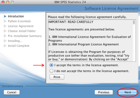 SPSS Accept Terms screen