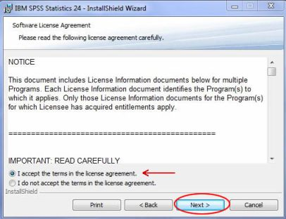 SPSS accept terms