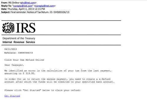 sample phishing email 1