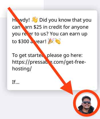 pressable on page chat bubble