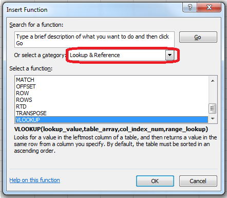 VLOOKUP Function Selection