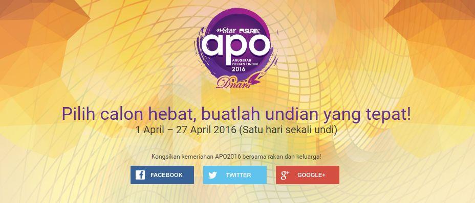 APO2016-Anugerah-Pilihan-Online-2016-anjuran-mStar-Online-SuriaFM-apo_mstar_com_my