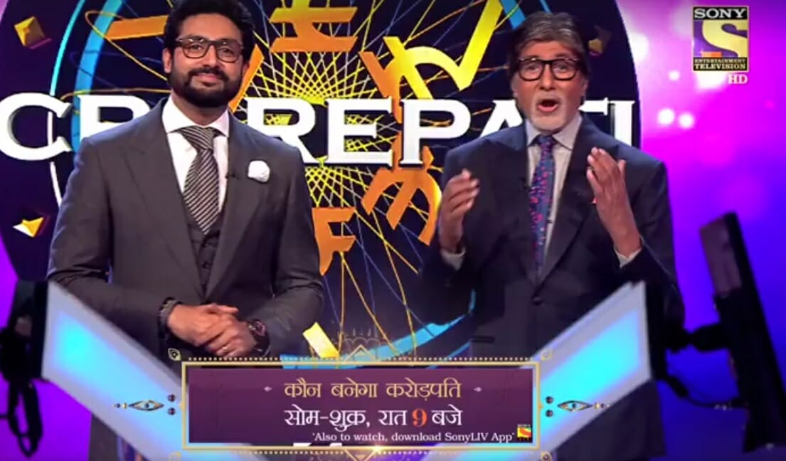 abhishek and Amitabh jodi on kbc set