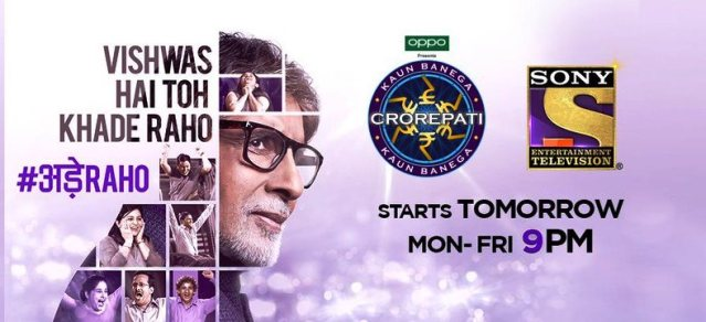 KBC starting tomorrow, Mon-Fri at 9 PM