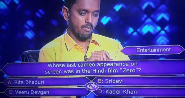 "Ques : Whose last cameo appearance on screen was in the Hindi film ""Zero""?"