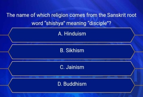 The name of which religion comes from the sanskrit root word kbc