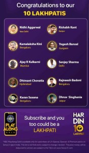 KBC Play Along Gold Winner - Episode 3 - Here are top 10 Names Digital- Play Now