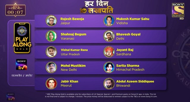 KBC Play Along Gold Winner – Episode 72 – Here are top 10 Names – Play Now