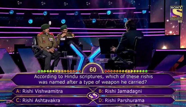 Ques : According to Hindu scriptures, which of these rishis was named after a type of weapon he carried?