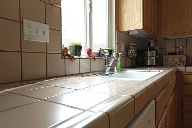 Large grout counter top.