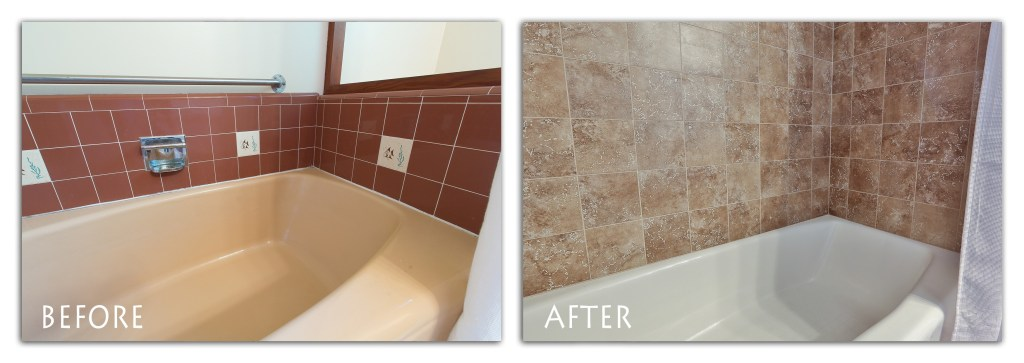 before and after shower remodel.