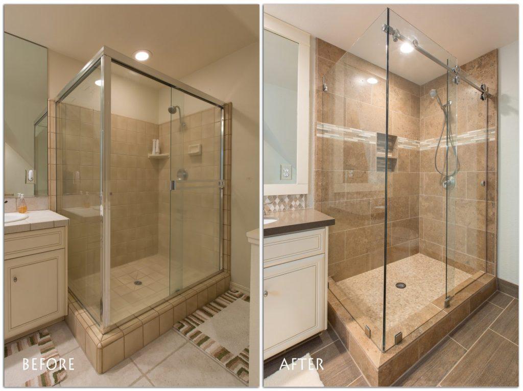 frame less glass shower.