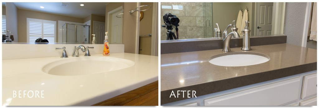 custom bathroom vanity before and after.
