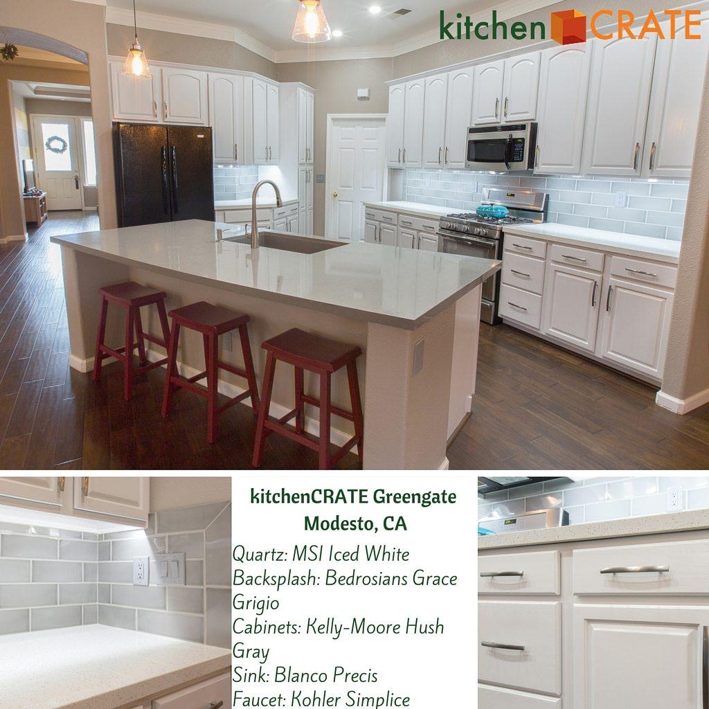 KitchenCRATE Greengate Drive, Modesto Complete! - kitchenCRATE on white granite kitchen, white kitchen counter material, white kitchen counter bar,