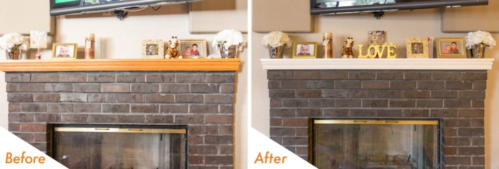 Painted fireplace mantel.